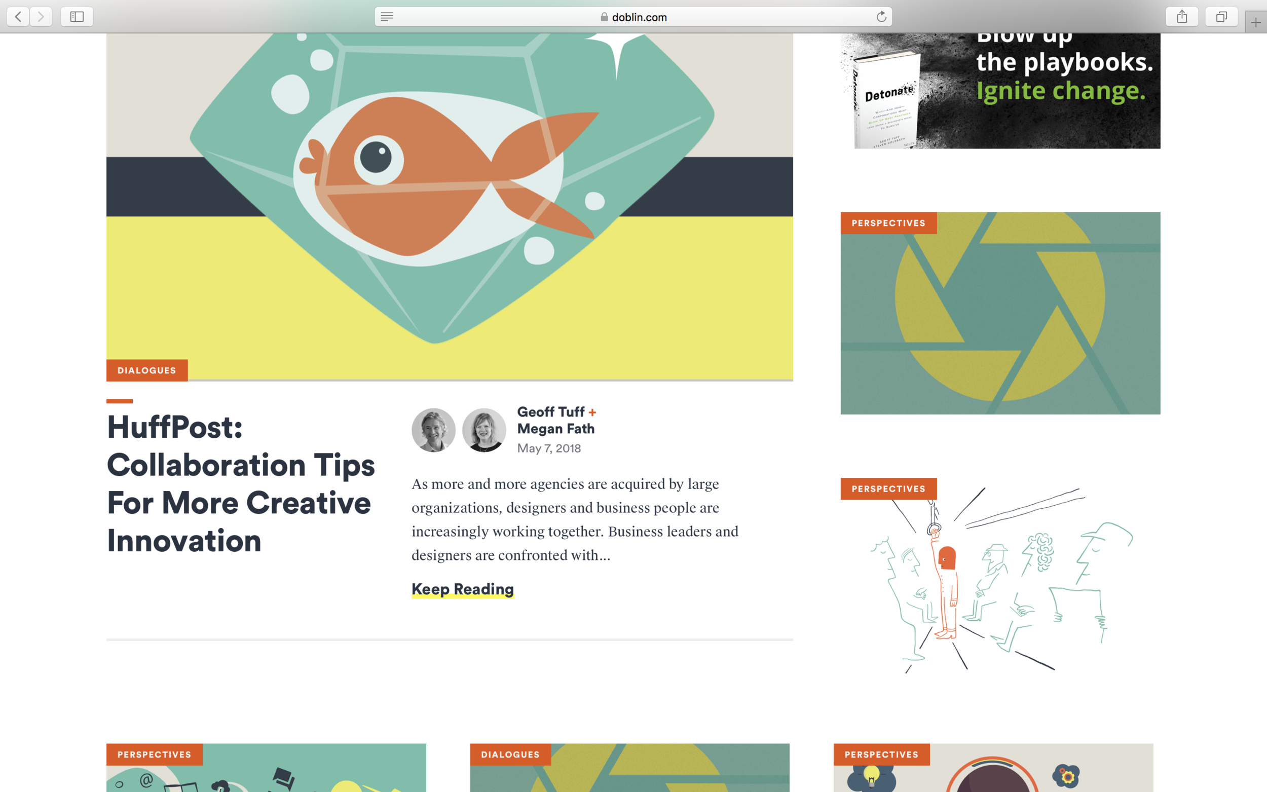 "My internship experience with my illustration featured on Doblin's ""Our Thinking"" page"