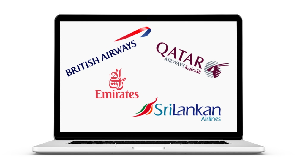 Step 2.  Choose one of the many fabulous airlines travelling to Sri Lanka