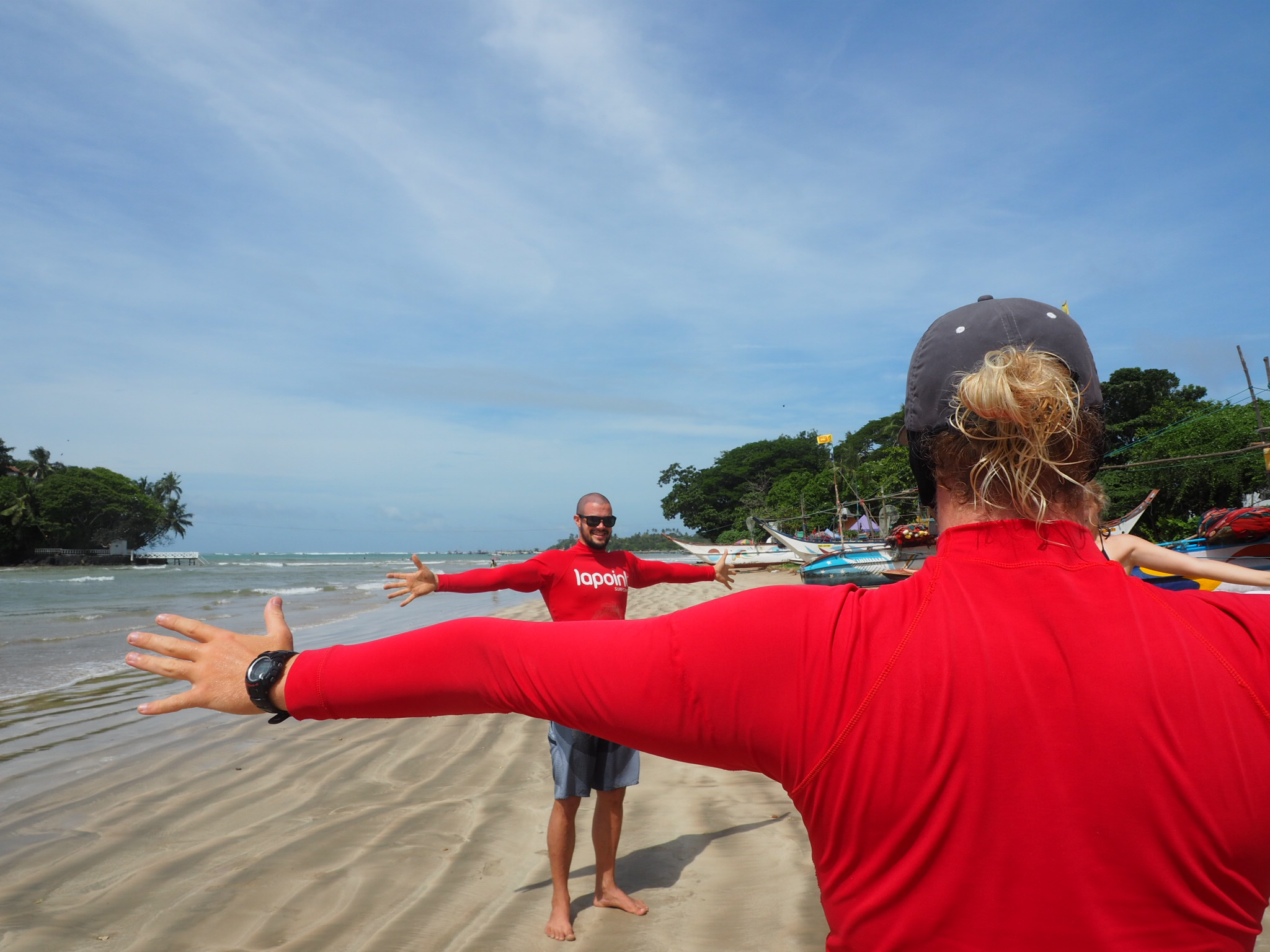 You know you're in for a tough surf session when your coach does a full warm up routine with you