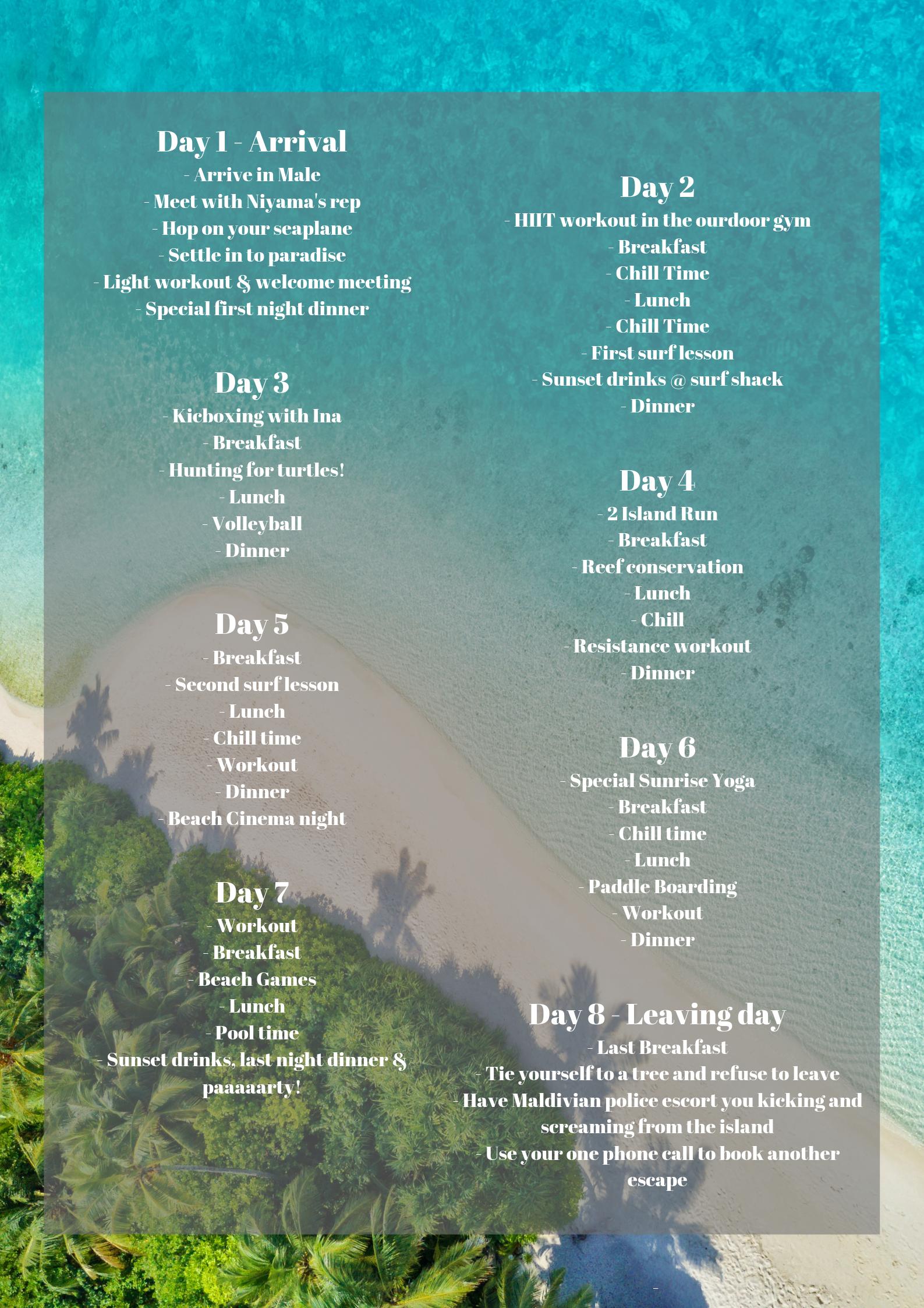 Maldives adventure schedule