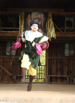 Cloten, portrayed by Jamin Miller, in the 2015 production of  Cymbeline  sports a flamboyant attire distinguishing from his rival, Posthumus.