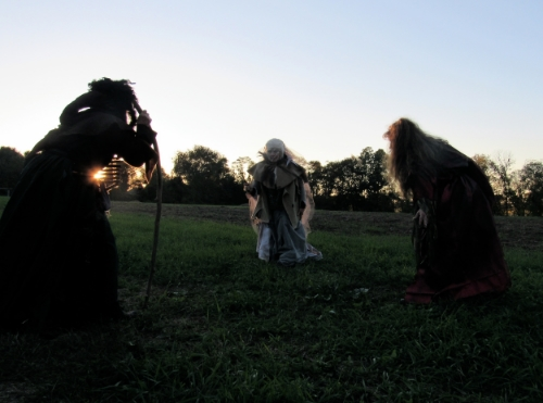 The Weird Sister's, played by Jaci Keagy, Cassi Ney, and Barbara Lomenzo, begin their conjuring.
