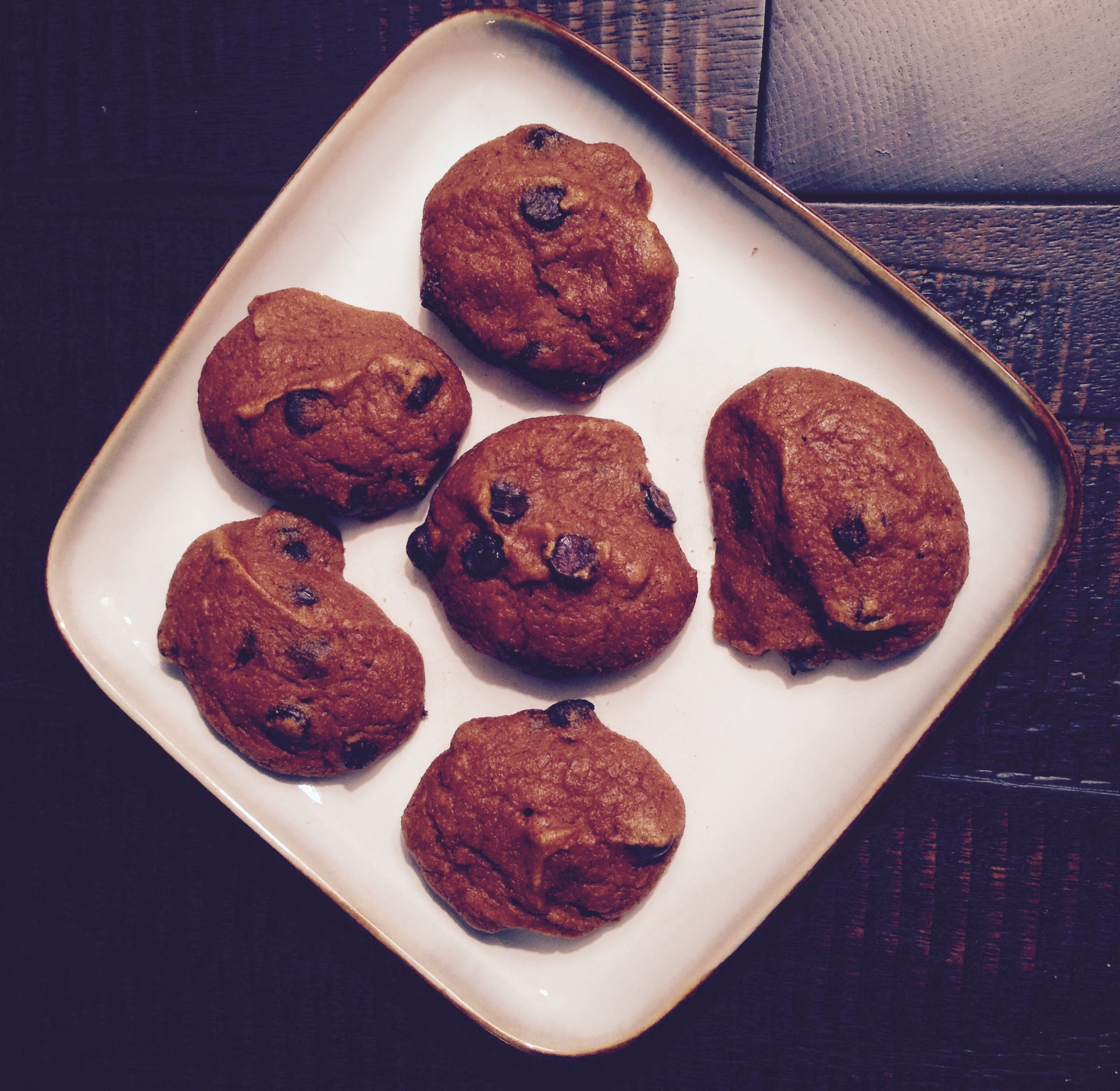 Soft and Fluffy these wheat and diary free Pumpkin Chocolate Cookies are the BEST