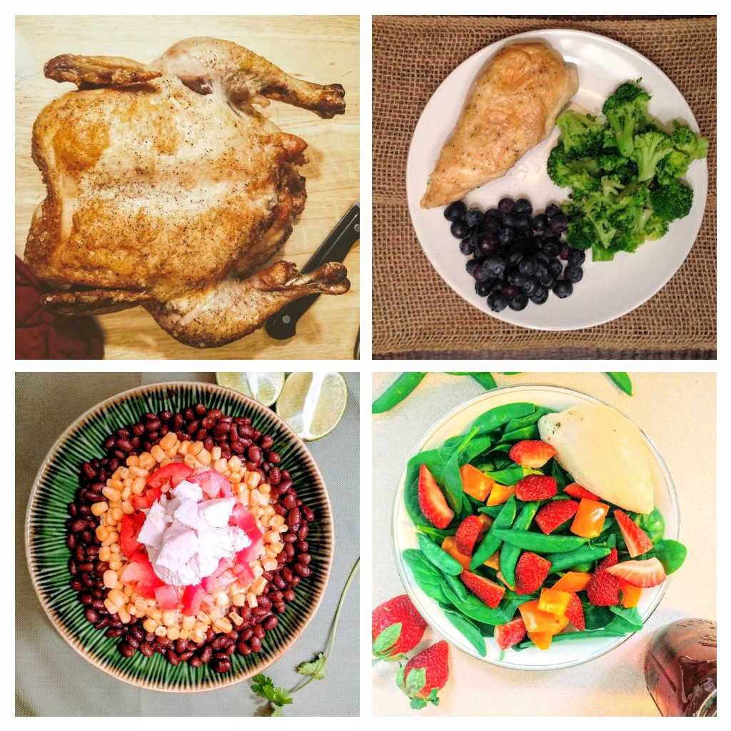 3 Ingredient Roasted Chicken: Served 3 ways: Chicken breast with broccoli and blueberries, Brown rice Fiesta Bowl, and Colorful Spinach & Sugar Snap Pea Salad.