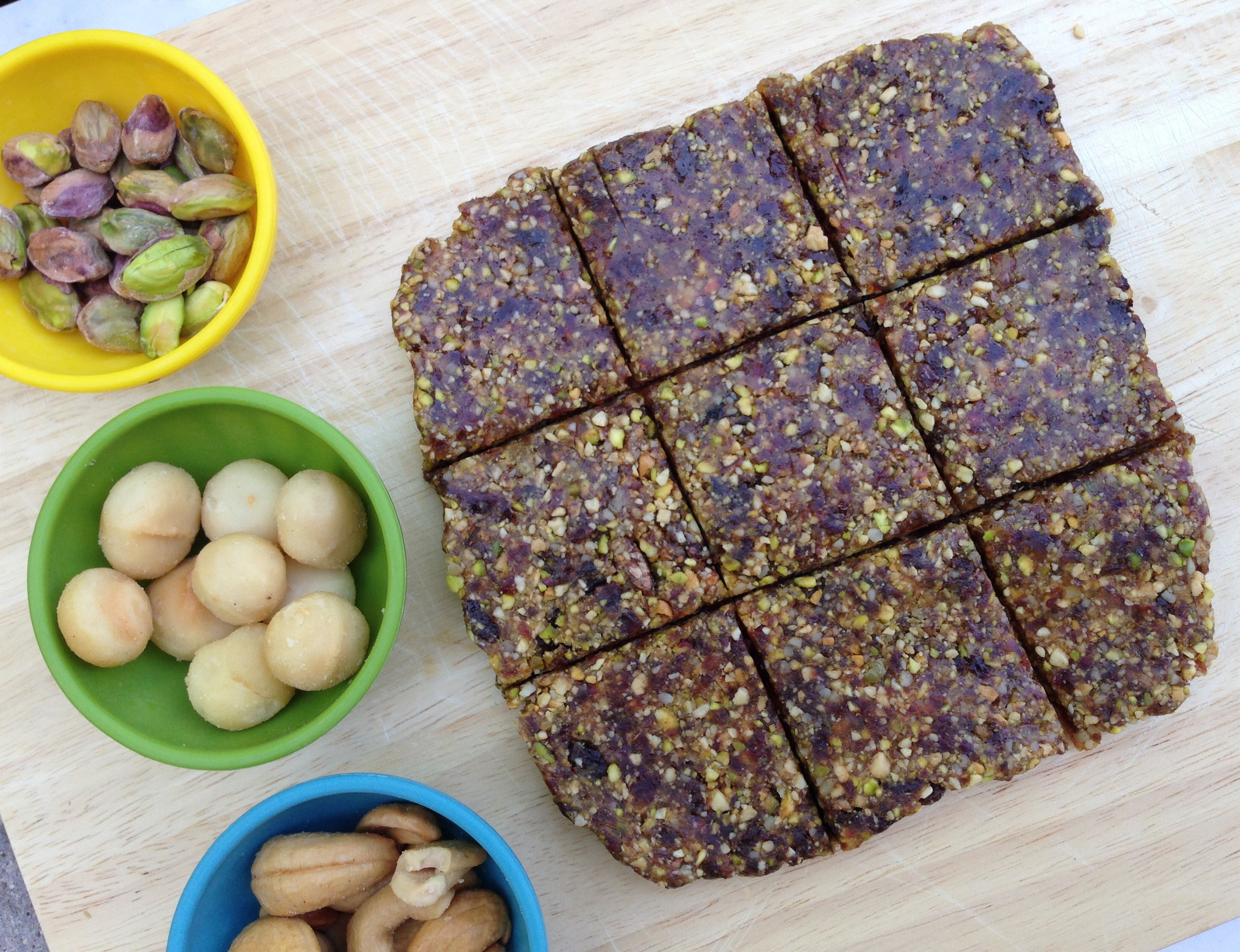 Nutty Date bar filled with dates, pistachios, Macadamia nuts, and cashews