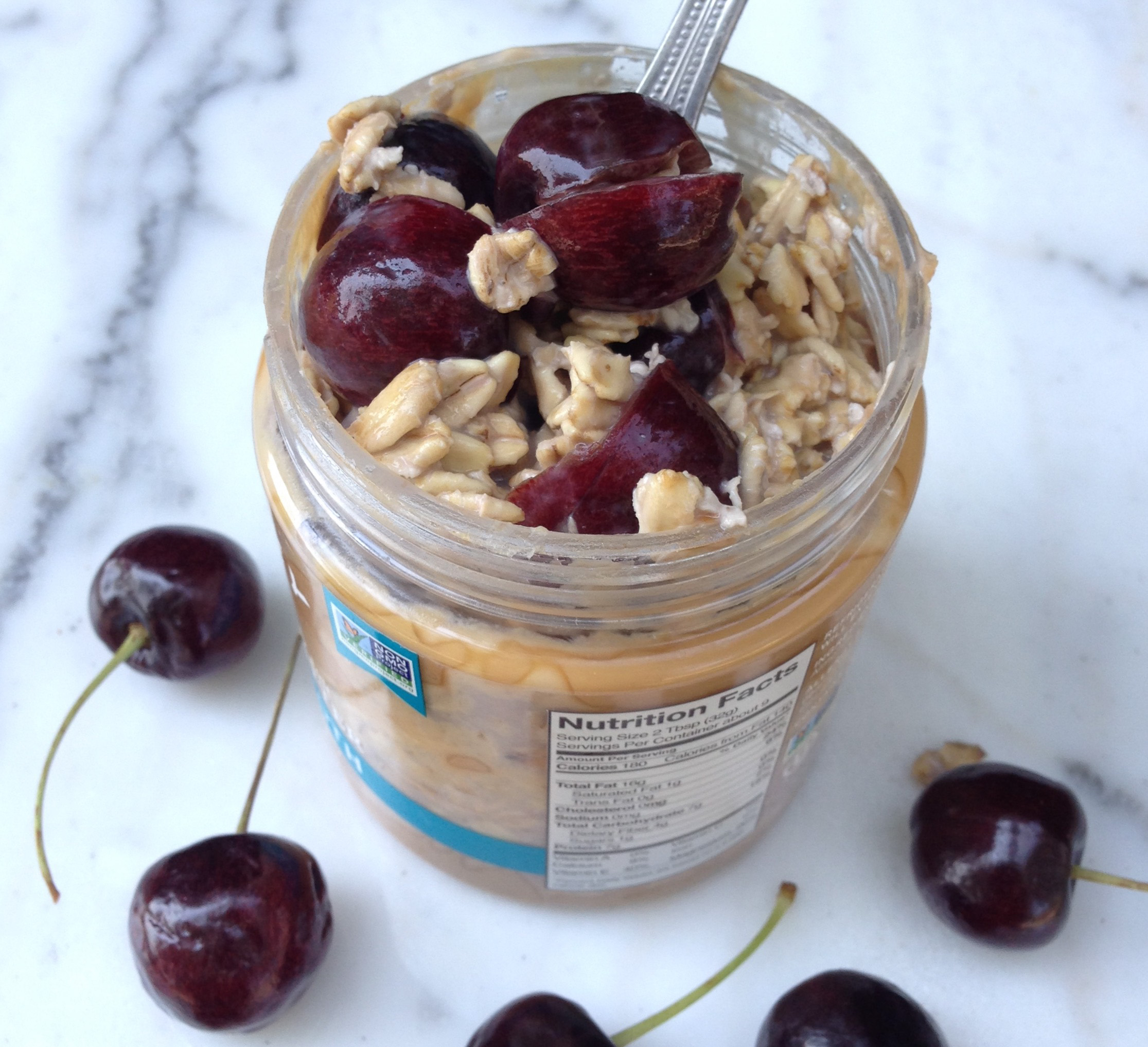 Start your morning right with these Overnight oats! This gluten free, diary free breakfast is filled with chocolate almond milk, almond butter, and fresh cherries!