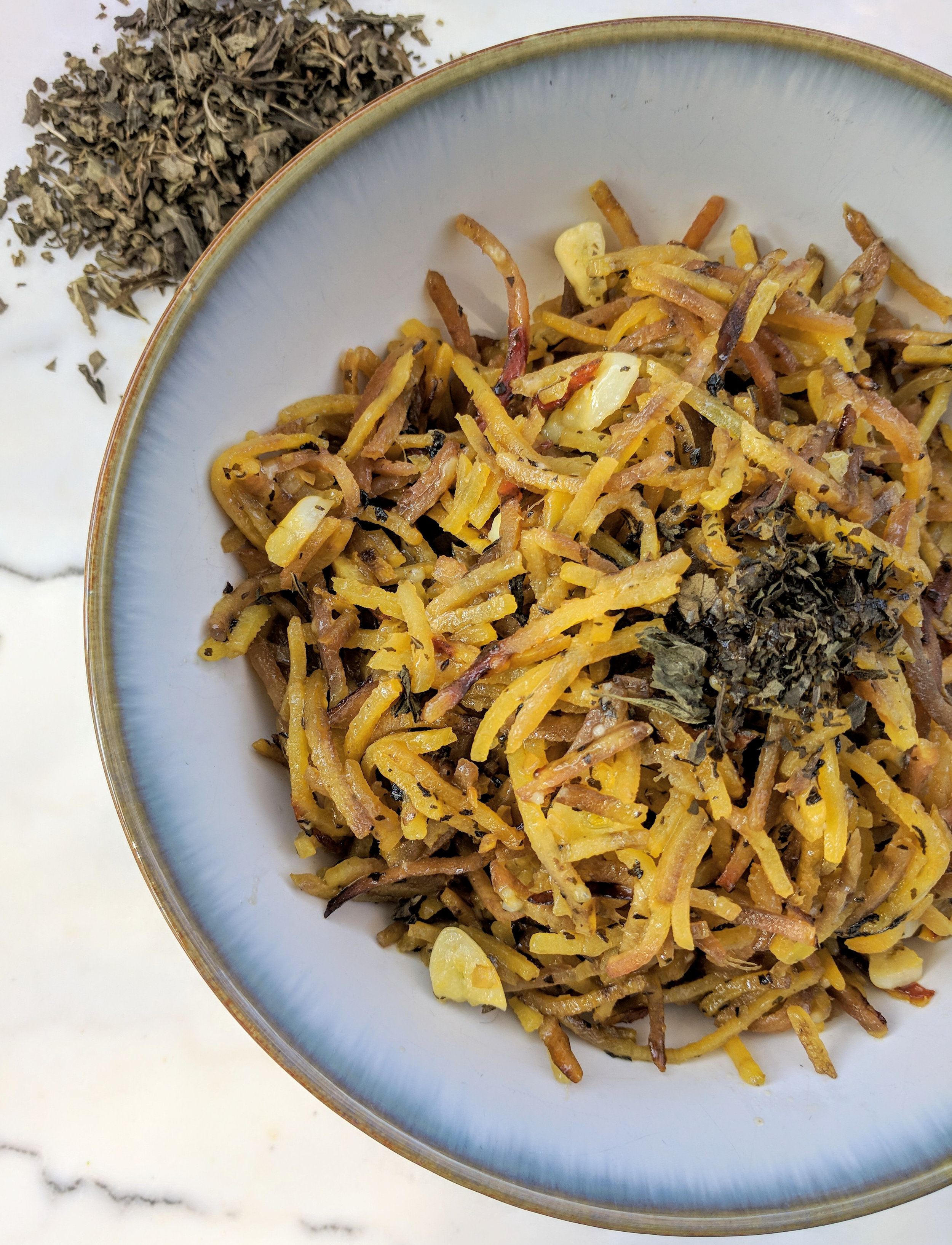 Prepared with golden beet spirals as a noodle or pasta replacement and seasoned with garlic, basil, and parmesean cheese you won't even miss your traditional noodles.