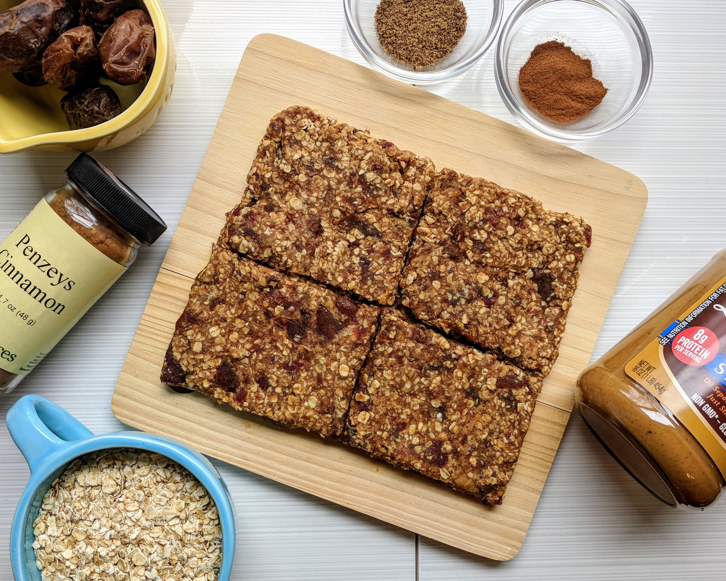These no added sugar, no bake peanut butter date bars are packed with flavor and nutrients. The dates add a perfect boost of sweetness while adding fiber, potassium, calcium, and phosphorus.