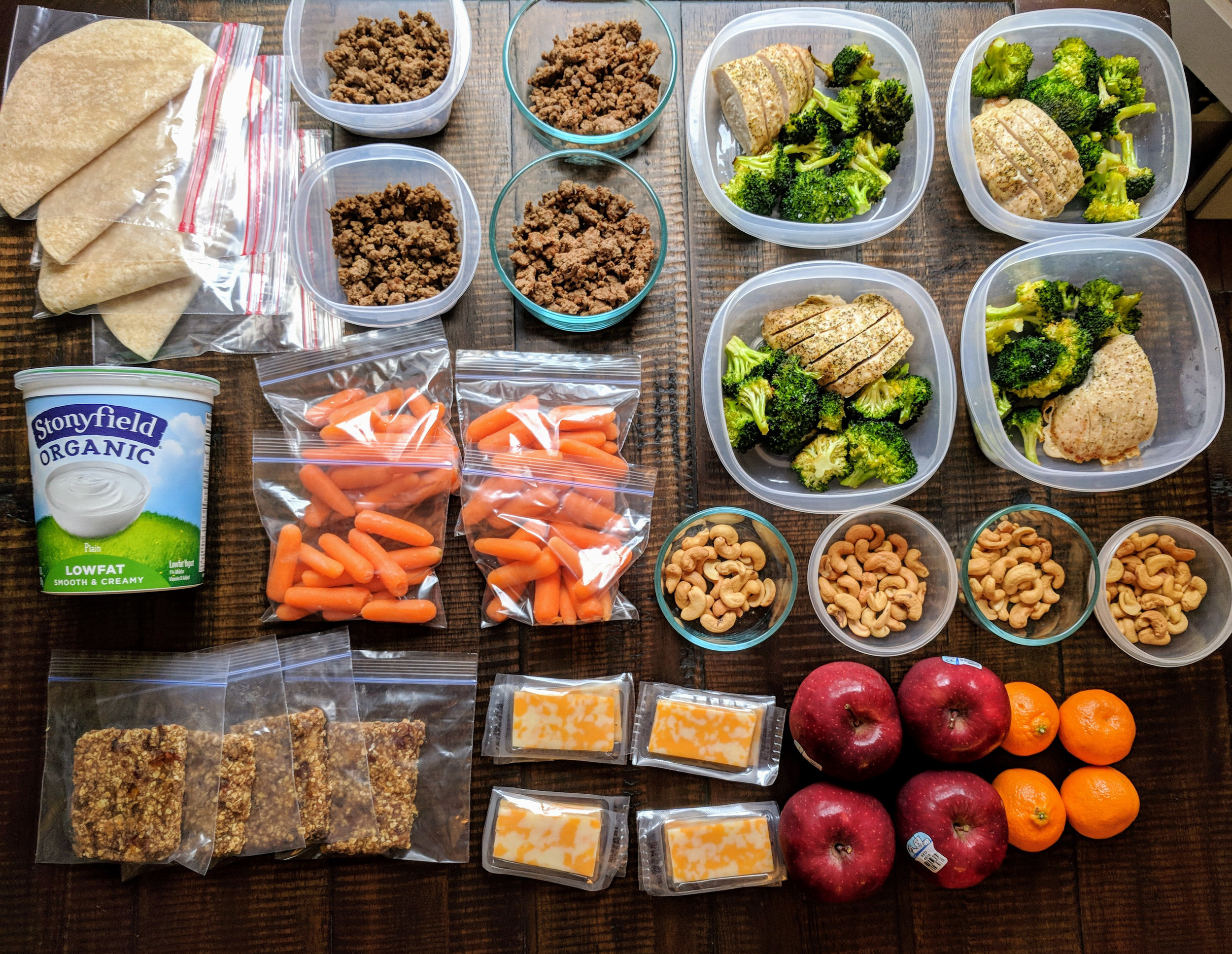 This meal prep prepares 12 meals (8 lunch or dinner and 4 breakfast) in under 2 hours. This meal prep allows you to save time and eat healthy no matter how busy your schedule is during the week.