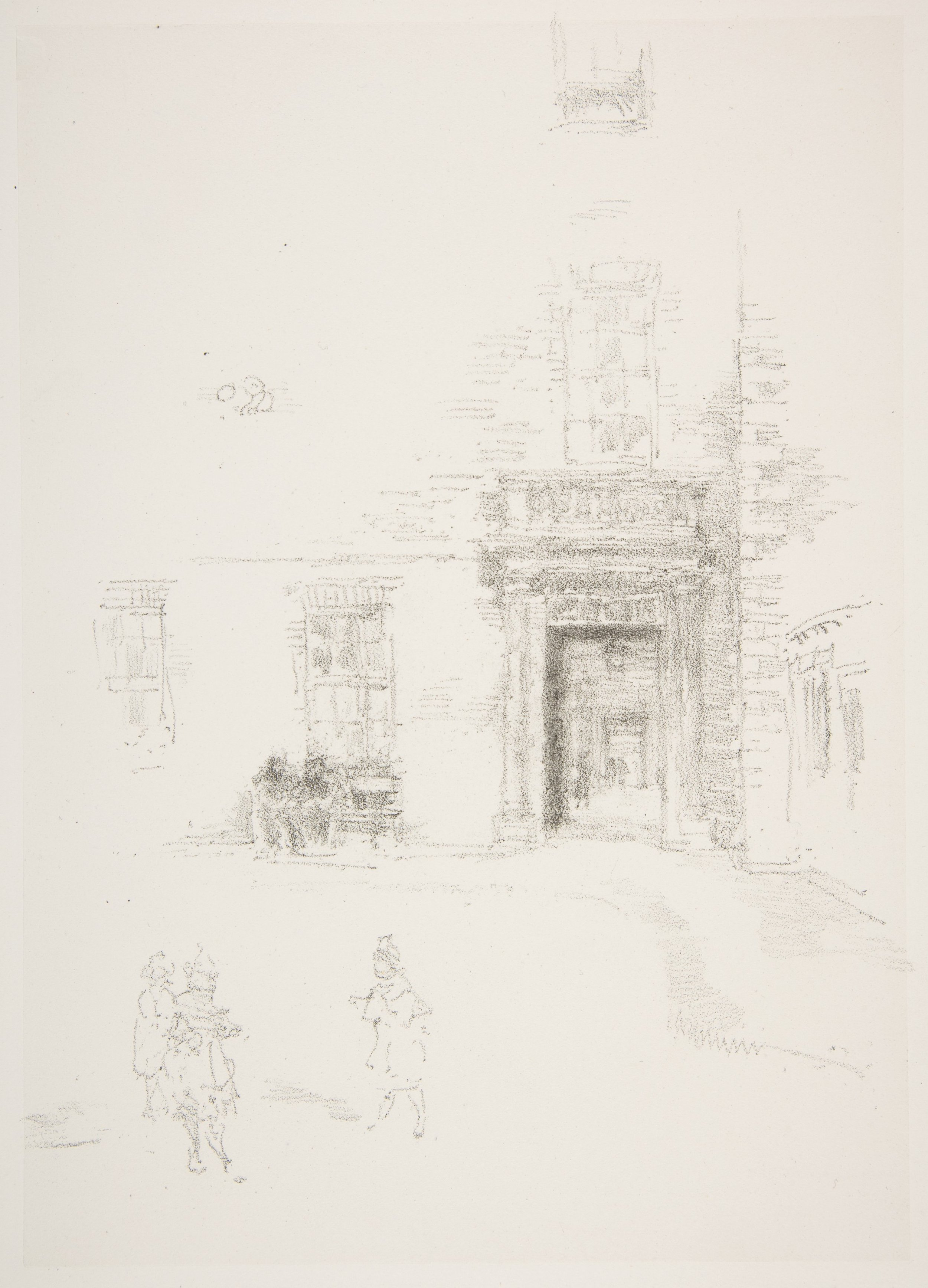 """Courtyard, Chelsea Hospital, James McNeill Whistler. 1888, London. Lithograph with stumping; printed on black ink on grayish white chine mounted on white plate paper   ,    13 7/8"""" × 9 15/16"""", print. Photo courtesy of the Metropolitan Museum of Art."""