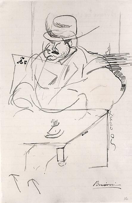 "Man at a Café Table, Paris, 1911, Umberto Boccioni, Italian, Reggio 1882–1916 Sorte.Ink on paper, 8 1/8"" x 5 3/8,"" drawing. Photo courtesy of the Metropolitan Museum of Art."