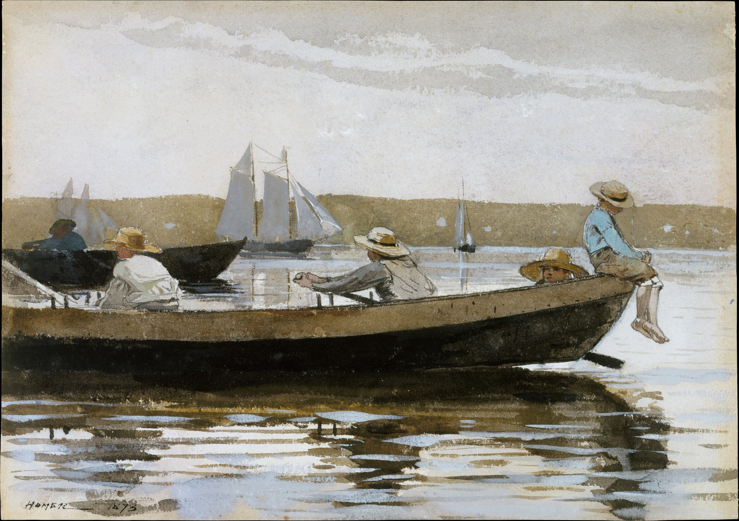 Boys in a Dory, 1873, Winslow Homer (American 1836-1910). Watercolor washes and gouache over graphite underdrawing on medium rough textured white wove paper, drawings. Courtesy of the Metropolitan Museum of Art.
