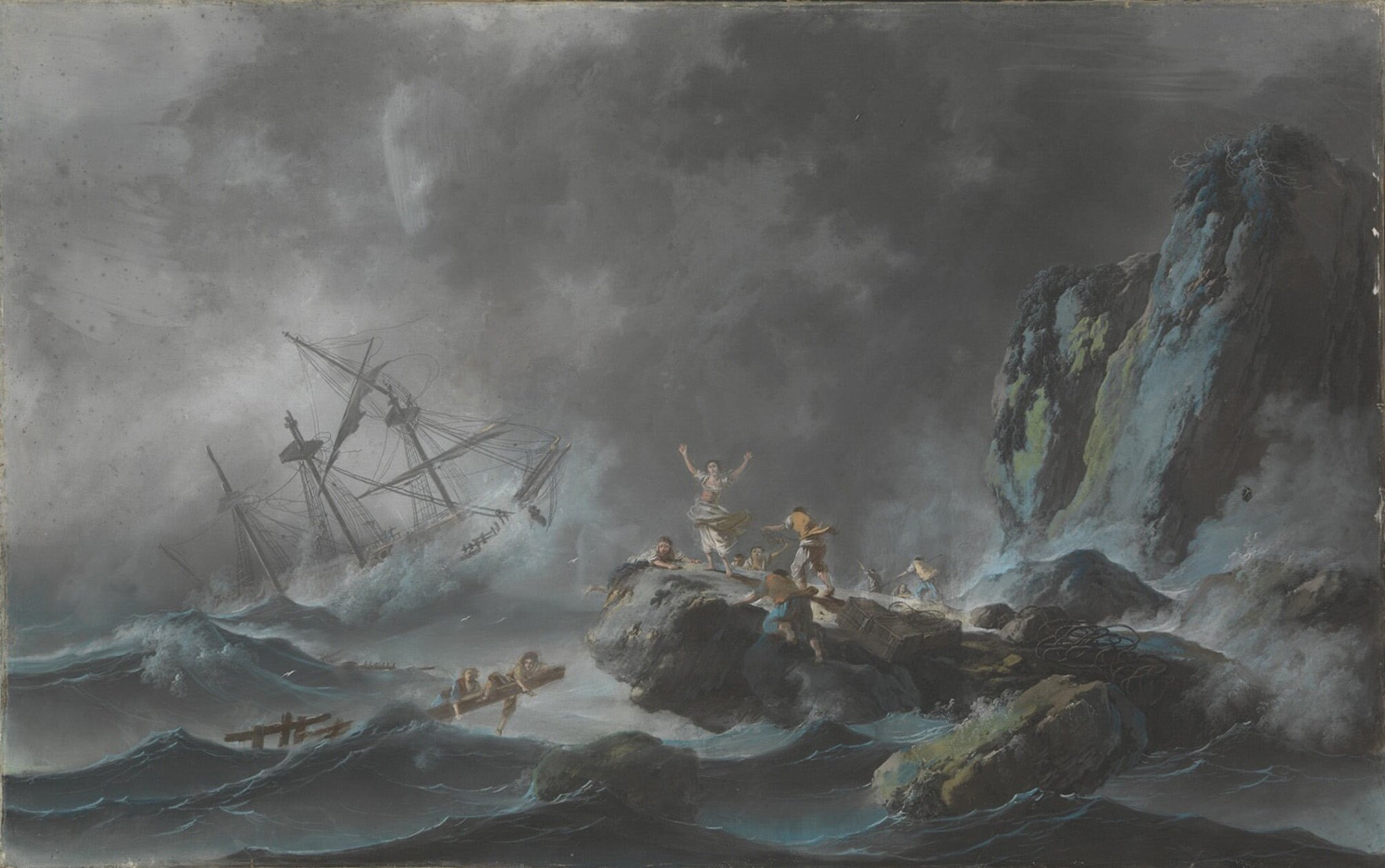 "A Shipwreck in a Storm, 1782, Jean Pillement (French, Lyons 1728–1808). Pastel on gessoed canvas, 24 3/4"" x 36"", pastels & oil sketches on paper. Photo courtesy of the Metropolitan Museum of Art."