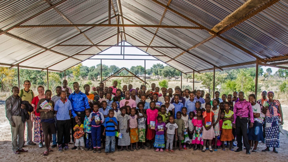 Lilonga Evangelical Church Congregation Under Their New Building Roof