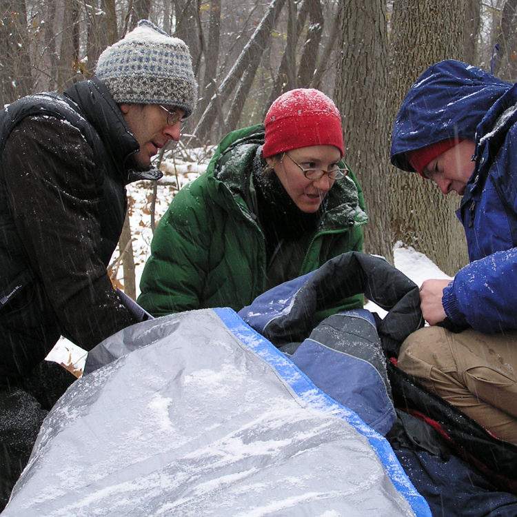 wilderness first aid class with patient