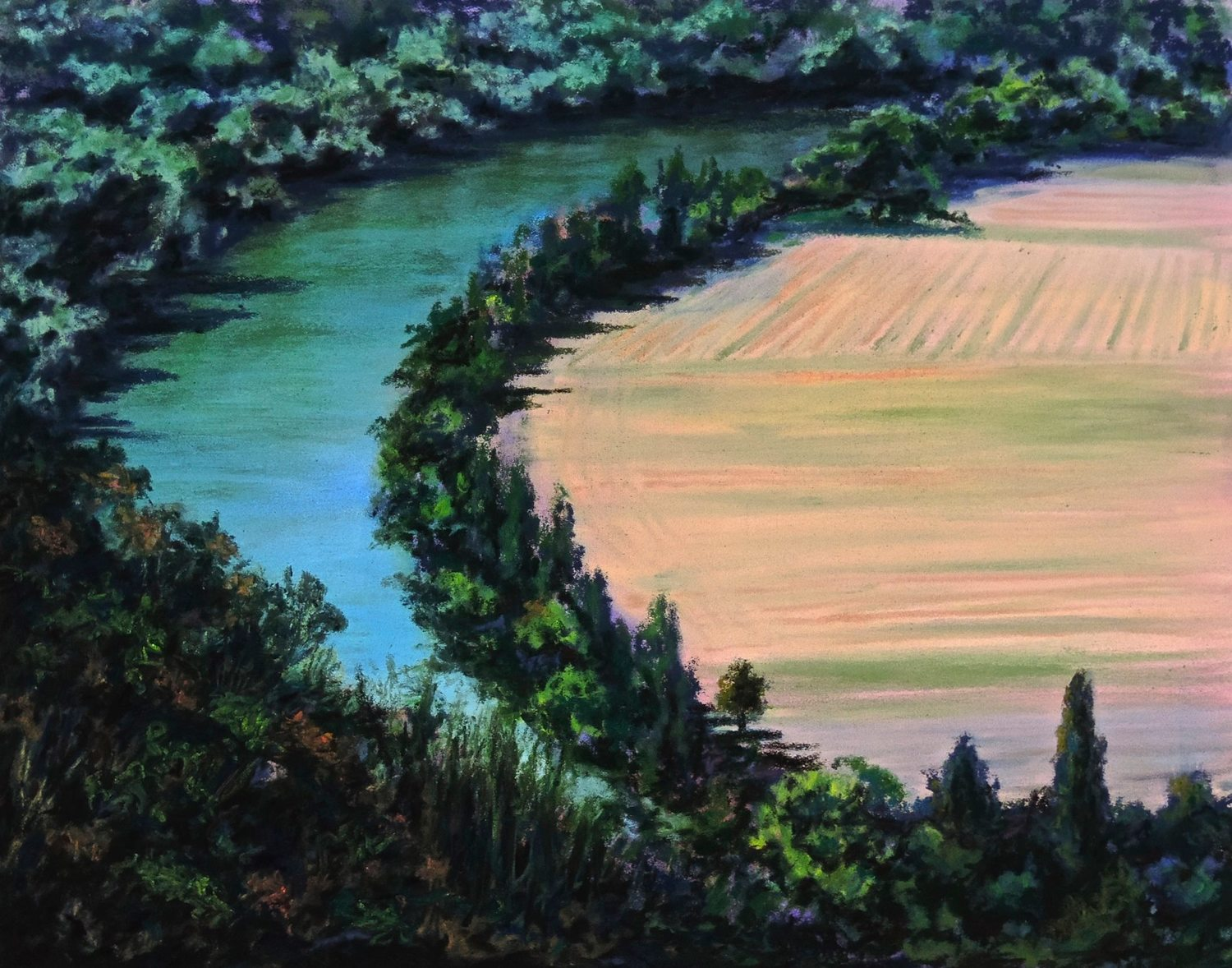 """LOT RIVER"", NEAR L'EVEQUE, FRANCE  Pastel Cheri GInsburg ©"