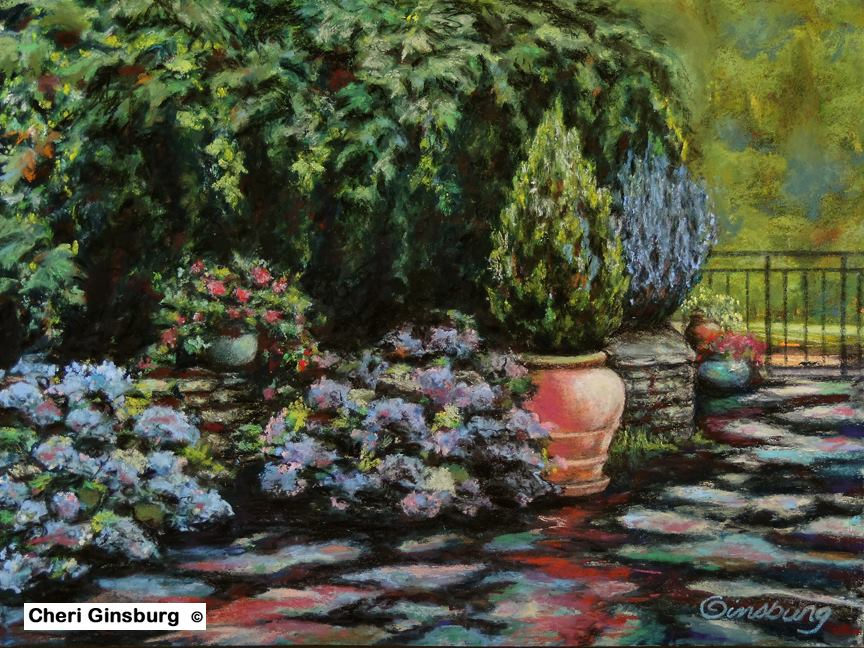 """AFTER THE RAIN"", DOMAINE DU HAUT BARAN, NEAR L'EVEQUE, FRANCE  Pastel Cheri GInsburg ©  SOLD"