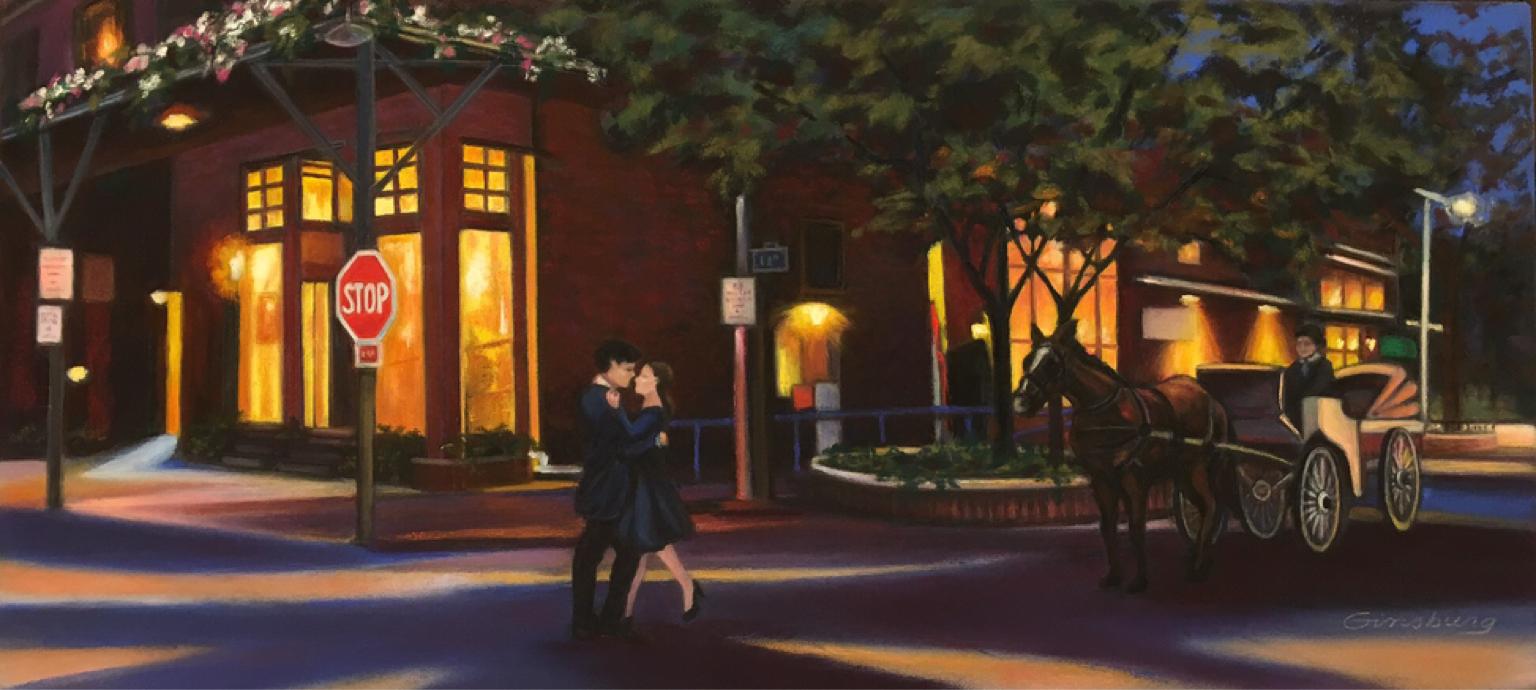 """remember the night"", Old market, omaha, nebraska  PanPastel® Cheri GInsburg ©   SOLD"