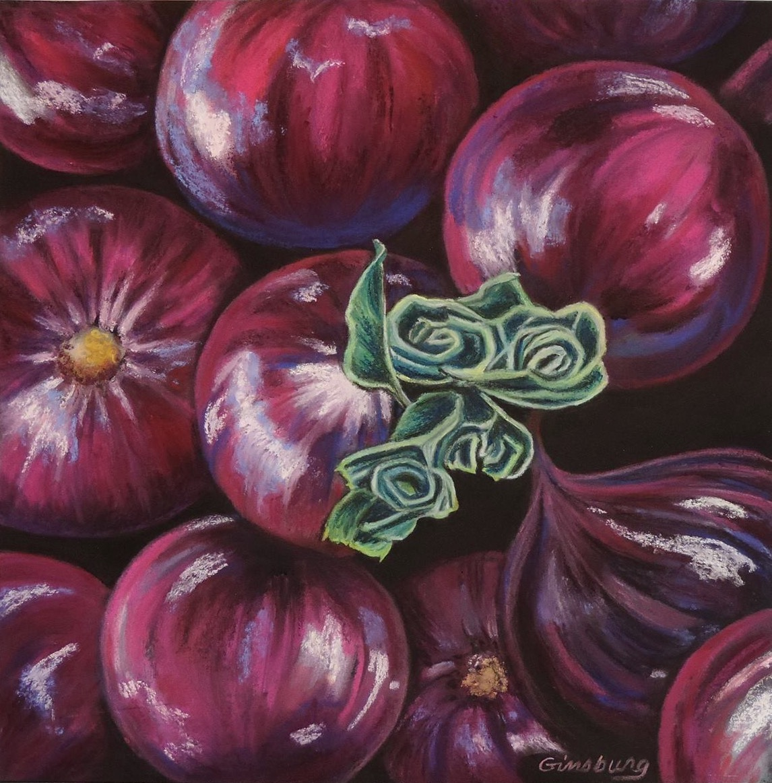 """red onions""  Pastel Cheri GInsburg ©"