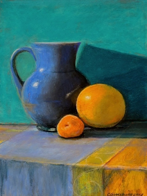 """""""blue pitcher""""  Pastel Cheri GInsburg ©  PRIVATE COLLECTION"""