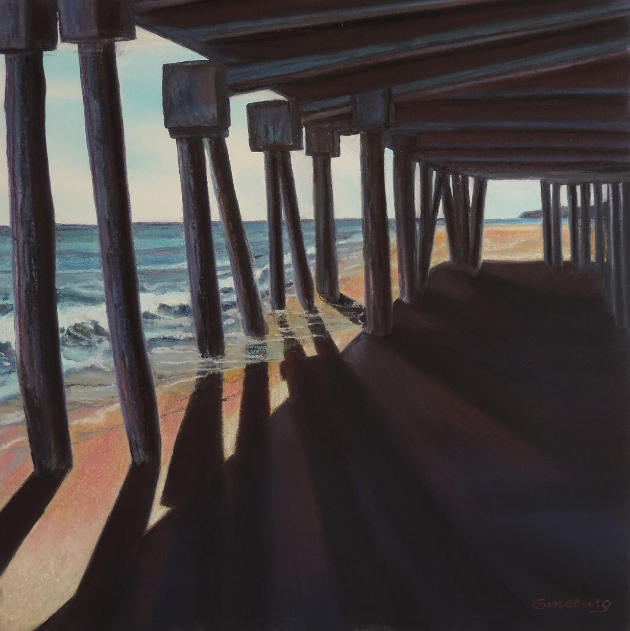 """UNDER THE BOARDWALK"", New Hampshire SHORE  Pan Pastel®  Cheri Ginsburg ©"