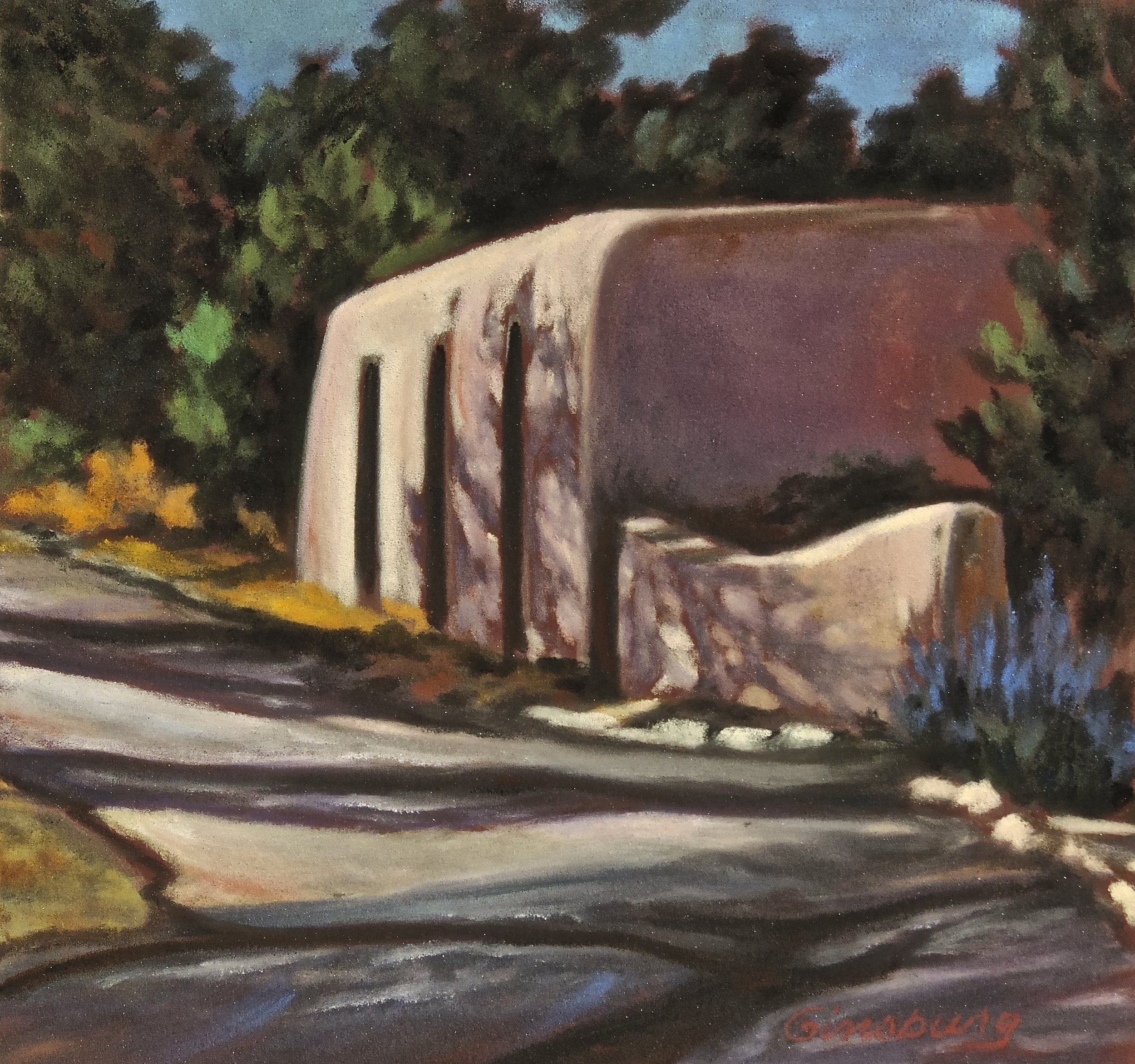"""""""house at the bend in the road, lamy, New Mexico""""  PanPastel® Cheri GInsburg ©"""