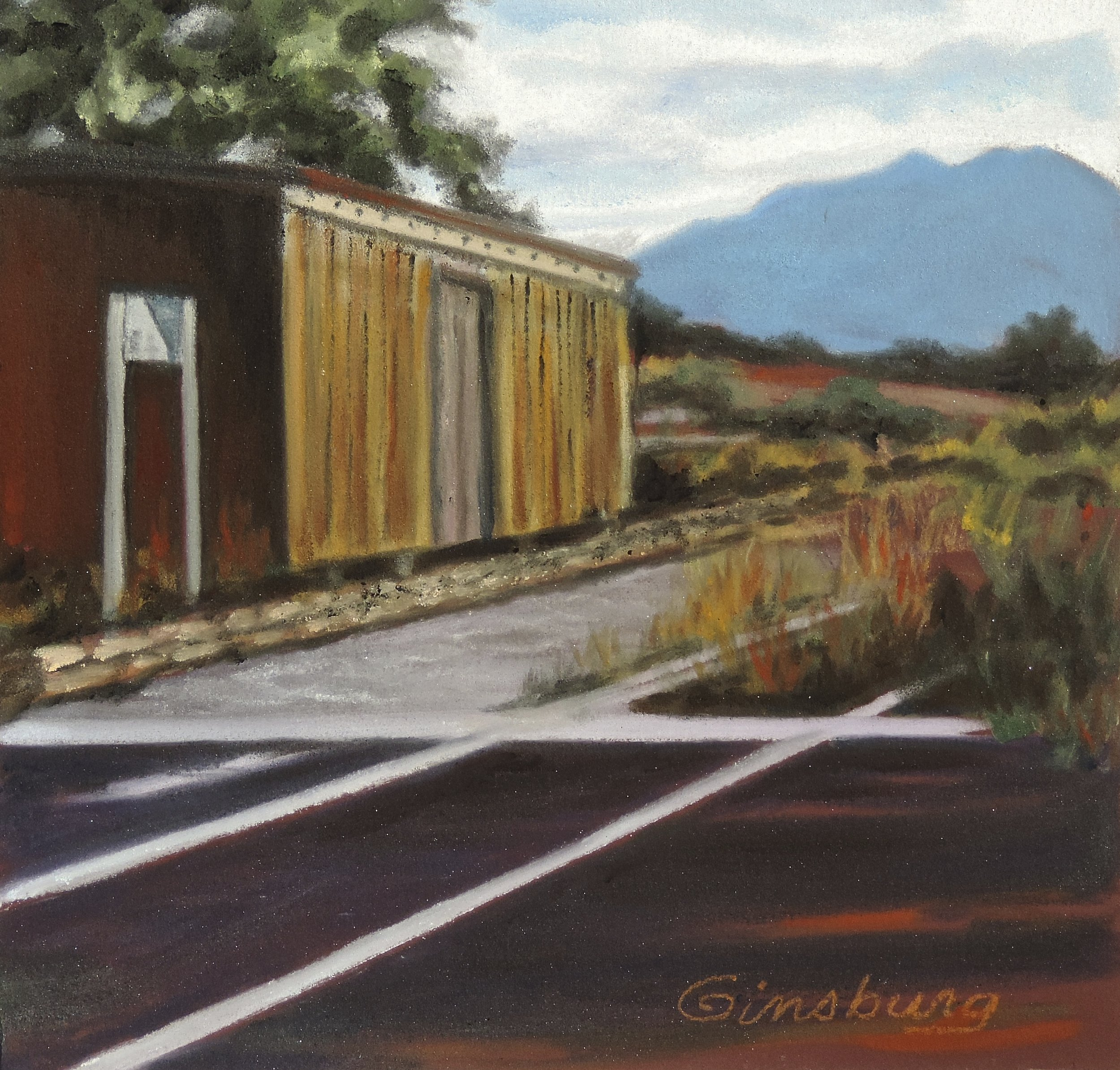 """""""outbuilding at lamy train stations"""", lamy New Mexico  Plein Air  PanPastel® Cheri GInsburg ©"""
