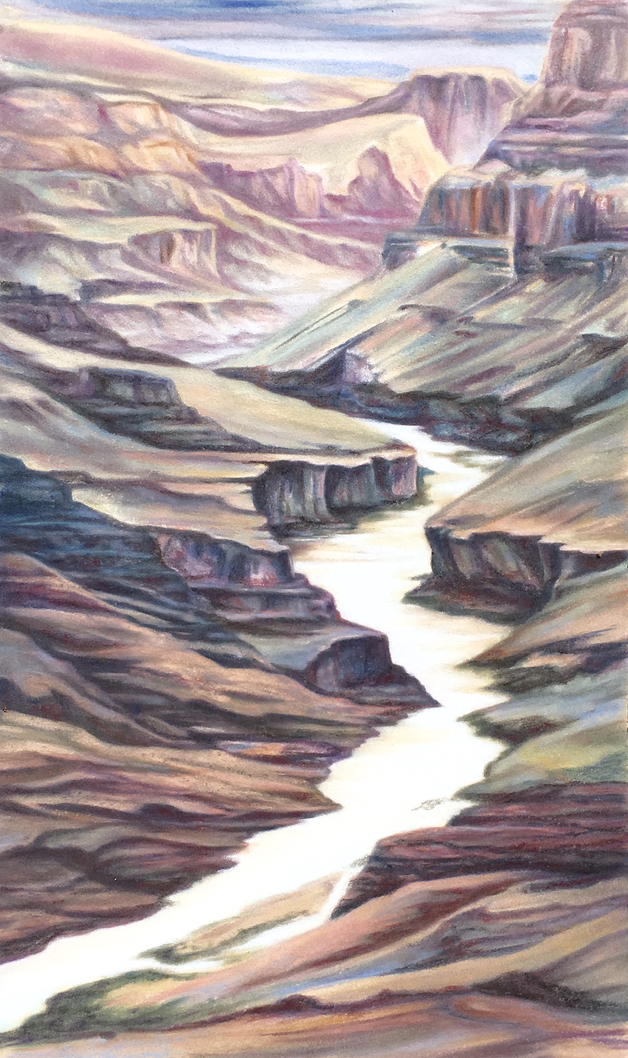 """""""Grand Canyon GRANDEUR"""", SOUTH RIM, Grand Canyon,ARIZONA  Pan Pastel® Cheri GInsburg ©  PRIVATE COLLECTION  GICLÉE ARTIST REPRODUCTION AVAILABLE"""