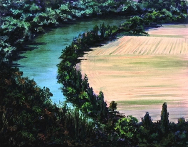 """lot river"", near l'eveque, france  PanPastel® Cheri GInsburg ©"