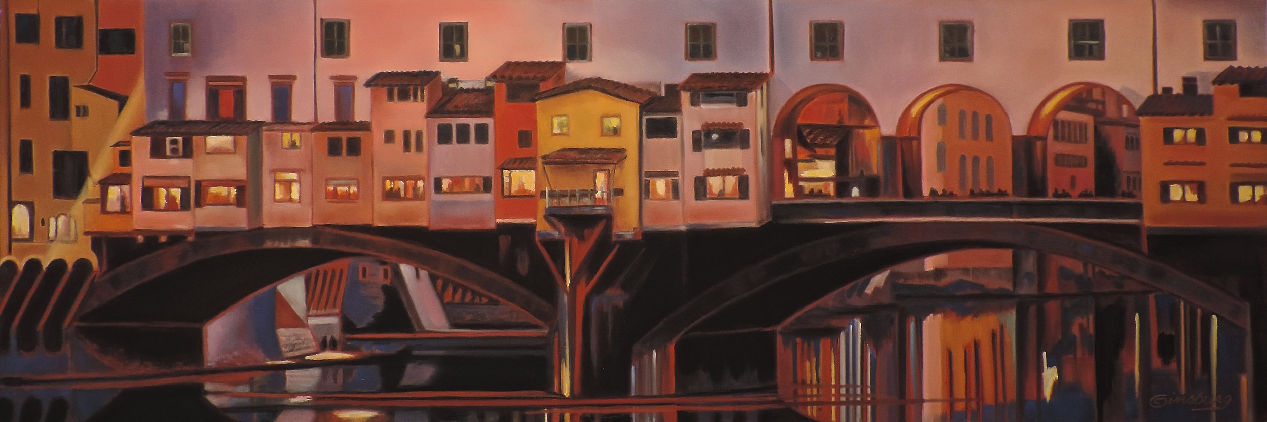 """ponte vecchio night reflections"", florence (fierenze), italy  PanPastel® Cheri GInsburg ©"