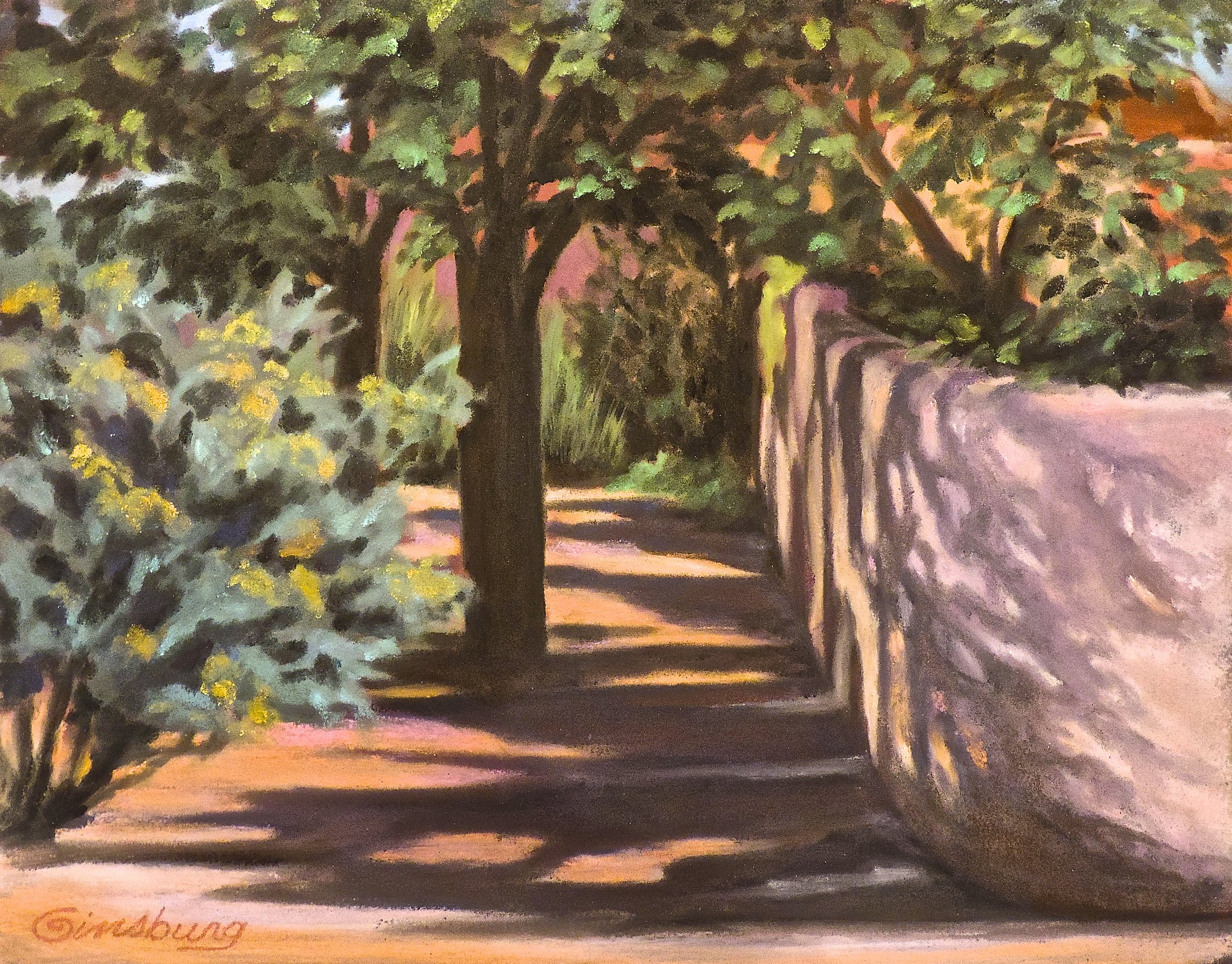"""afternoon shadows at lamy"", lamy, New Mexico  Plein Air  PanPastel® Cheri GInsburg ©"