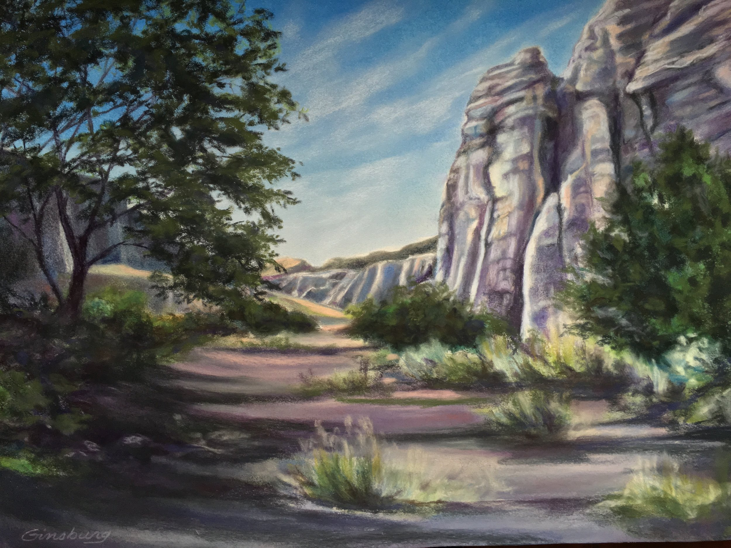 """THE WHITE PLACE"", GHOST RANCH, New Mexico  PanPastel® and traditional pastel Cheri GInsburg ©"
