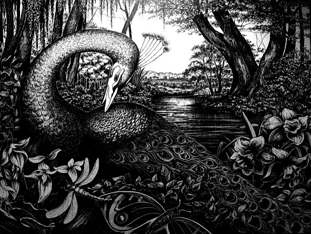 """""""in the garden""""  Pen and Ink Cheri GInsburg ©  PRIVATE COLLECTION"""