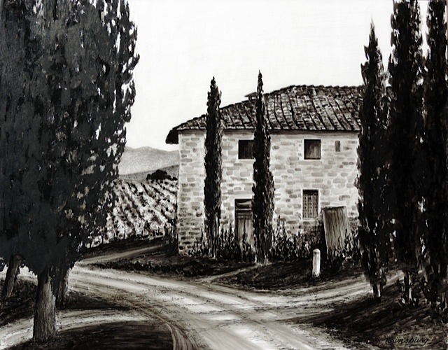 """""""villa at the bend in the road"""", near vagliogli, italy  Pen and Ink Cheri GInsburg ©"""