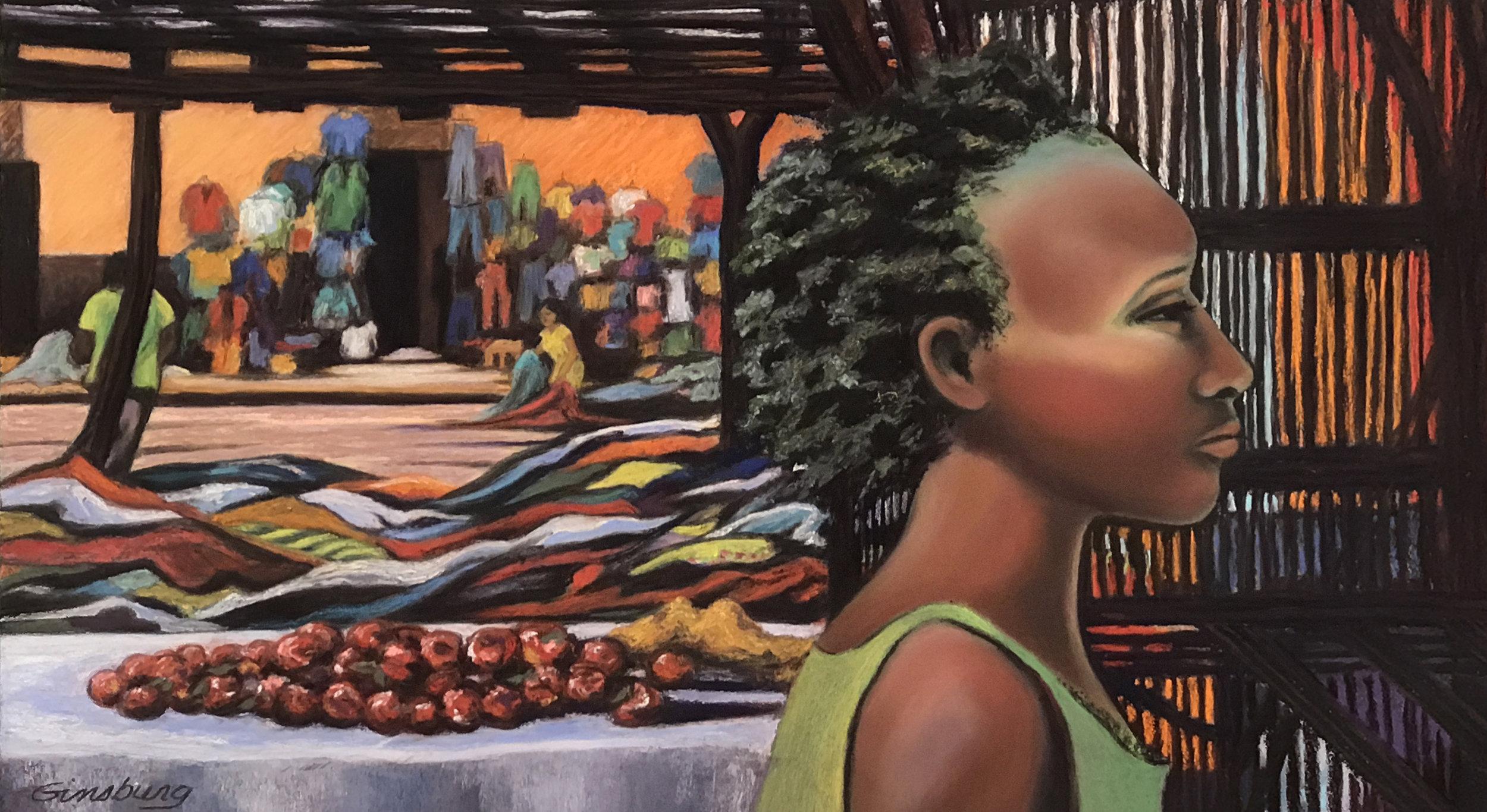 """""""Zambian Beauty""""  12"""" x 24""""  Pastel"""