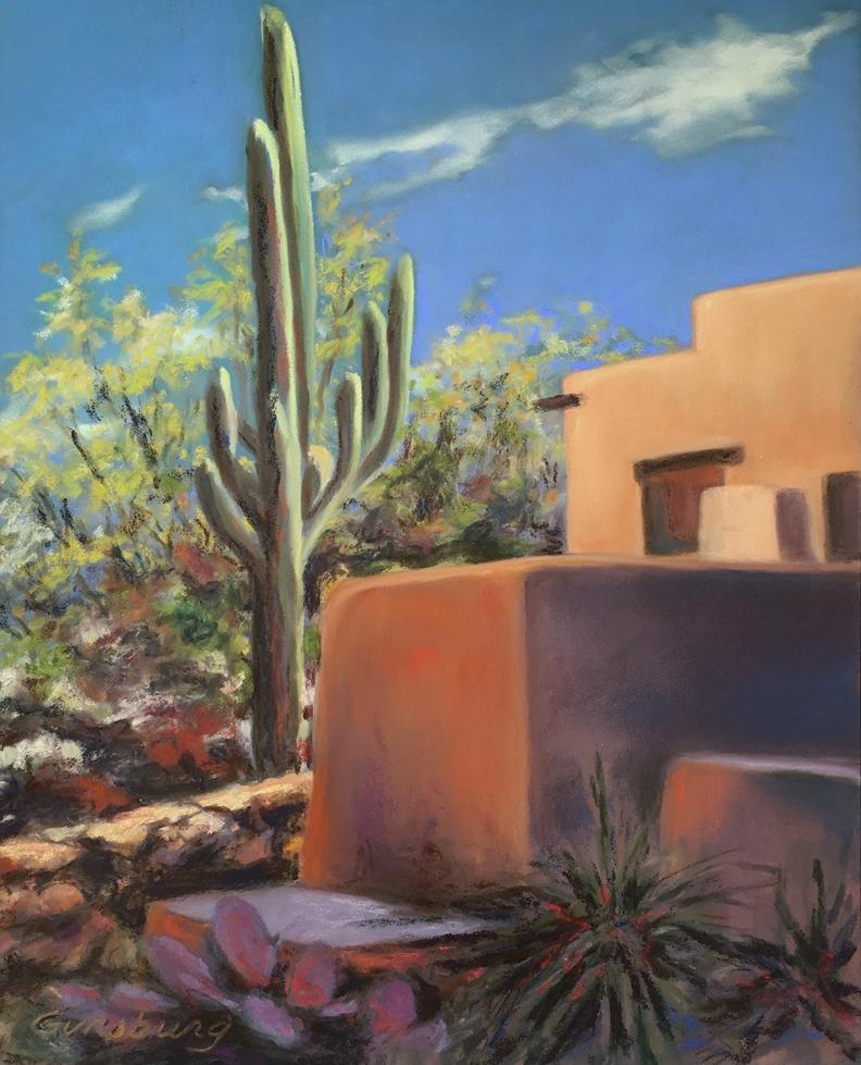 Untitled Plein Air  Tucson, Arizona  11 x 14  PanPastel on Ampersand Pastelbord  Cheri GInsburg ©