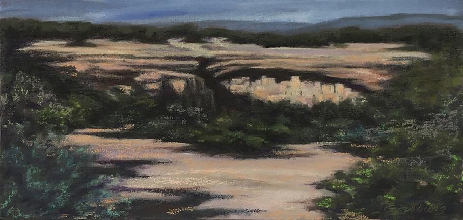 Untitled Plein Air Painting  Mesa Verde, CO  6 x 12  PanPastel on linen panel  Cheri GInsburg ©