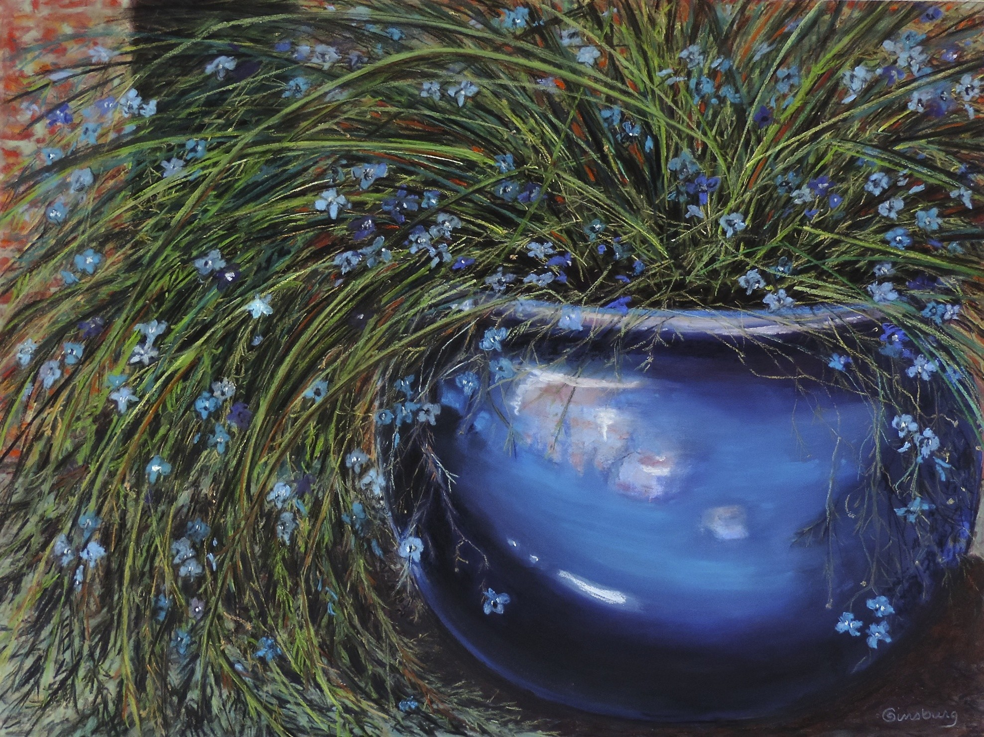 """""""french blue""""  Pastel  18 x 24 Cheri GInsburg ©  GICLÉE PRINT AVAILABLE"""