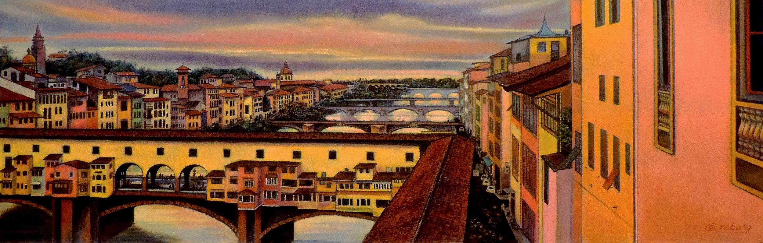 """Six Bridges Of Florence"" by Cheri Ginsburg©  Juried Selection / (iAPS) International Association of Pastel Societies 27th Exhibition  Juried Selection / Italian-American Museum ""Heart Of Italy"" Exhibition"