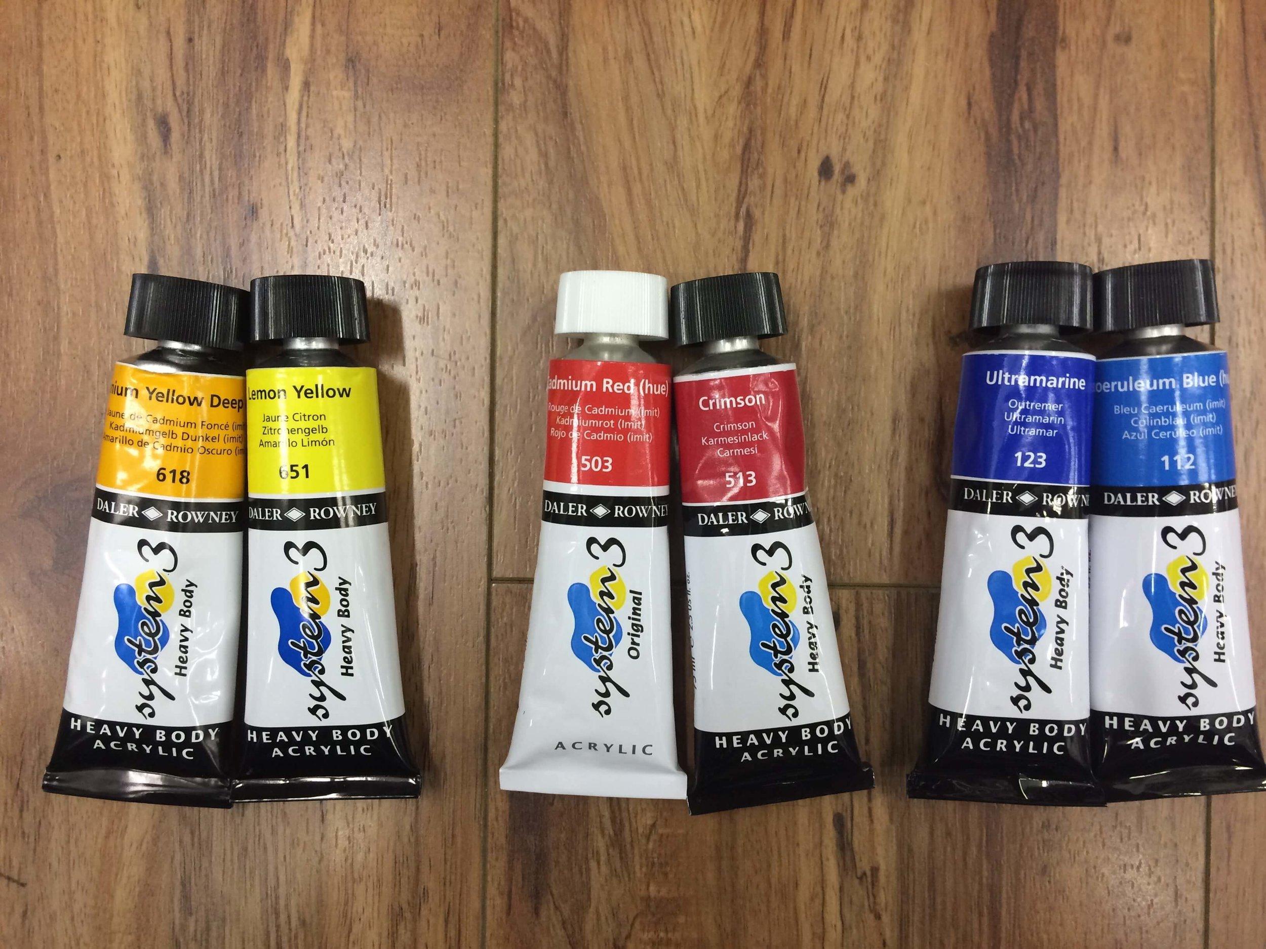 Daler Rowney   Heavy Body Acrylic : Cadmium Yellow Deep, Lemon Yellow, Cadmium Red (hue), Crimson, Ultramarine, Coeruleum Blue (hue).