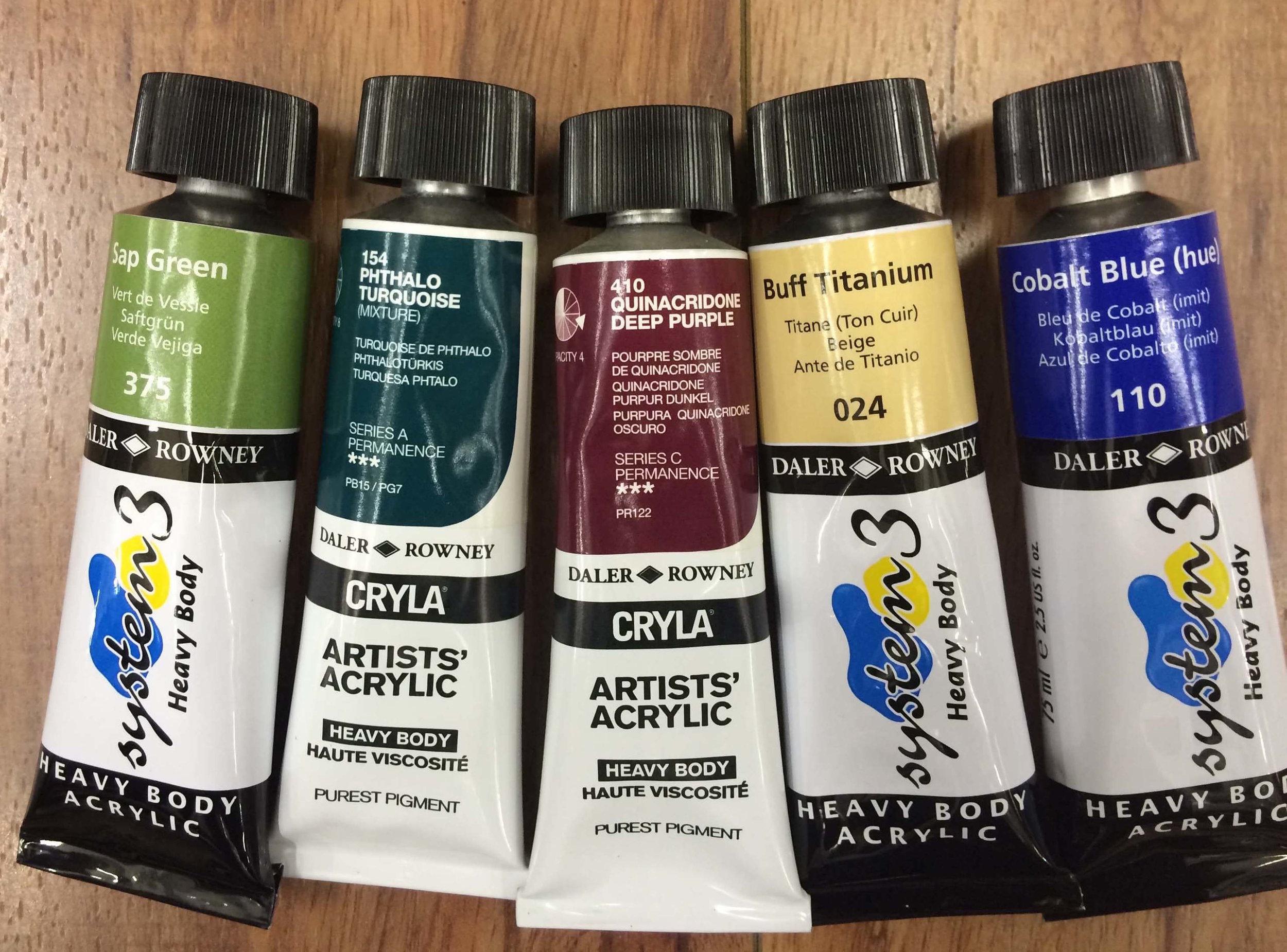 Daler Rowney   Heavy Body Acrylic : Sap Green, Phthalo Turquoise   (CRYLA - Artists' Quality), Quinacridone Deep Purple   (CRYLA - Artists' Quality), Buff Titanium, Cobalt Blue (Hue)