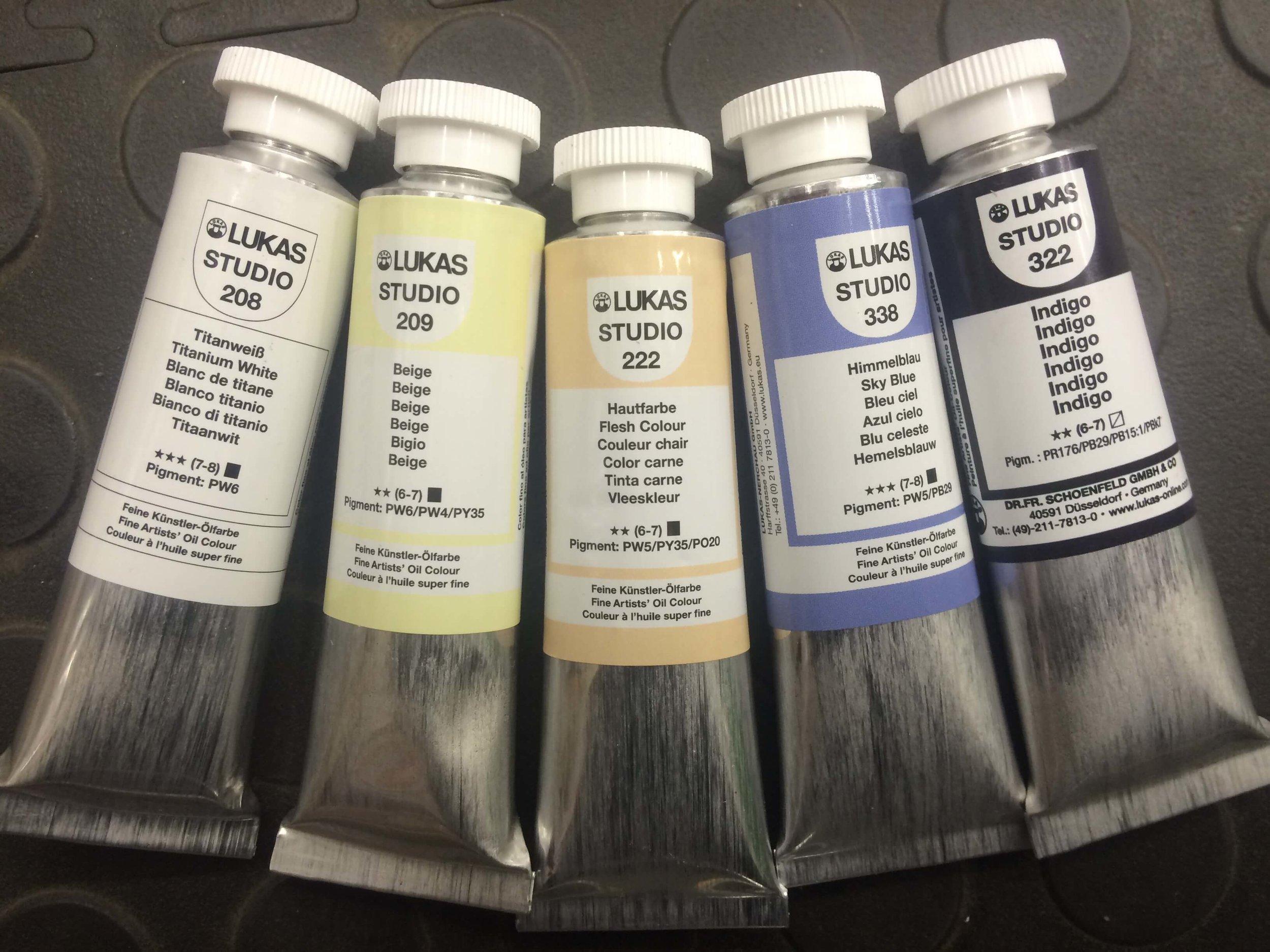 Lucas Studio: Titanium White, Beige, Flesh Colour, Sky Blue, Indigo