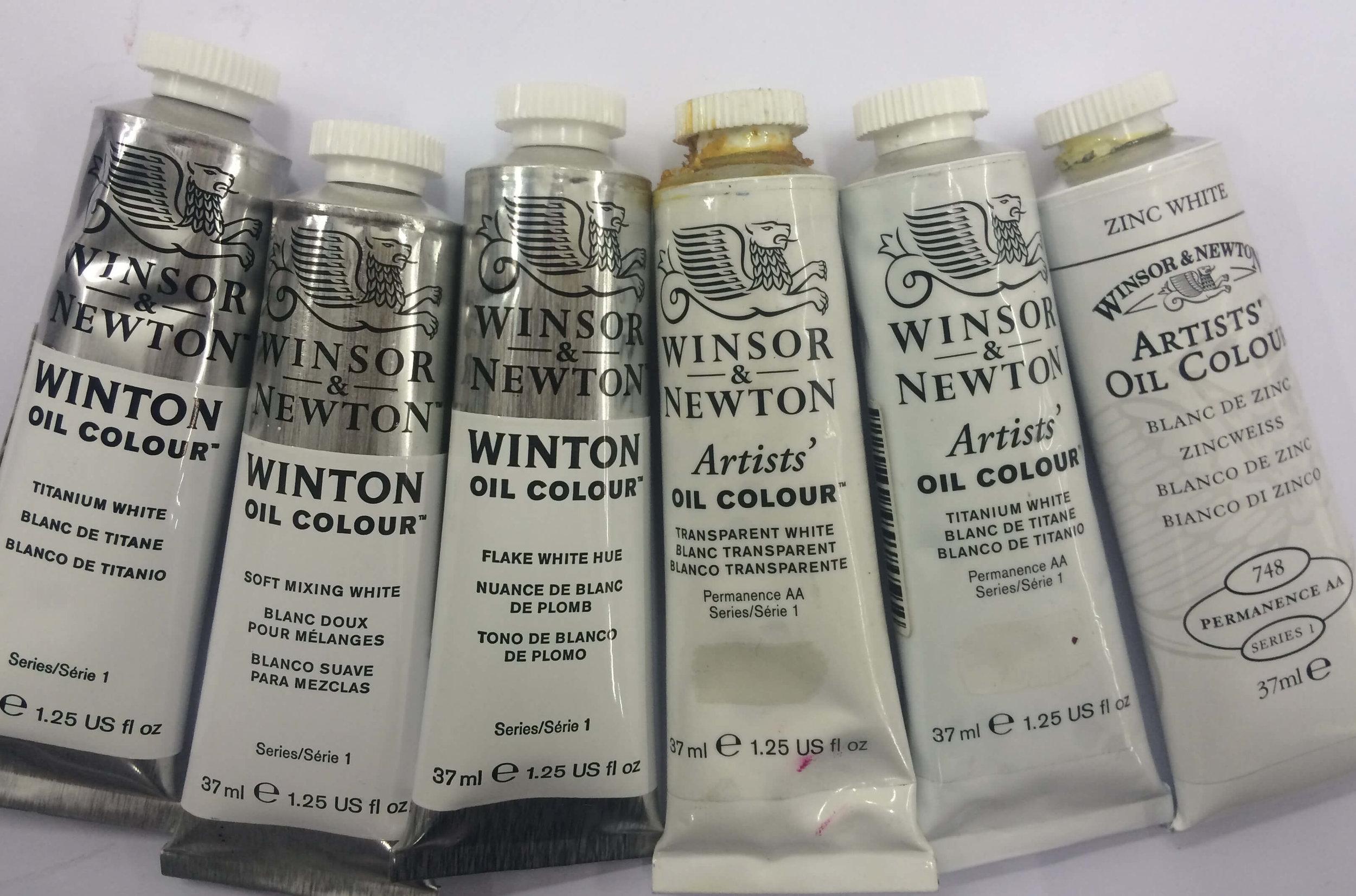 Winsor & Newton: Titanium White | Winton Series 1;Soft Mixing White  | Winton Series 1; Flake White Hue  | Winton Series 1; Transparent White |Artists', Permanence AA, Series 1;Titanium White  |  Artists', Permanence AA  , Series 1; Zinc White  |  Artists', Permanence AA  , Series 1
