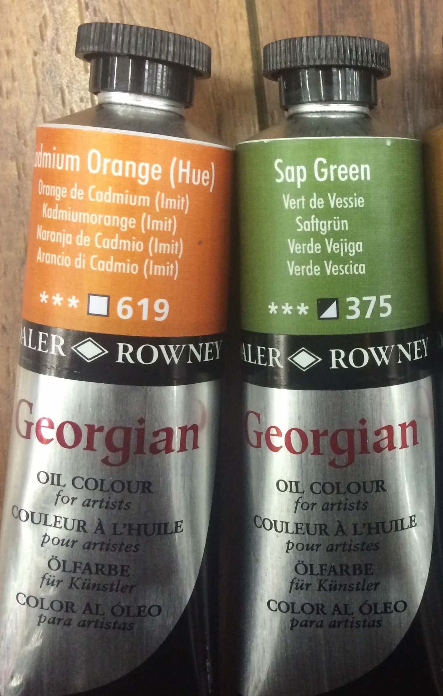 Daler Rowney | Georgian: Cadmium Orange (Hue), Sap Green