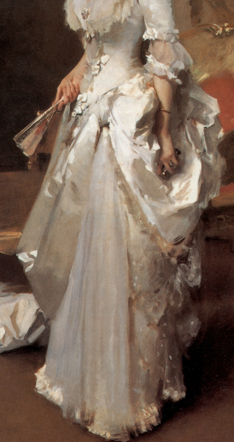 Close-up from John Singer Sargent's Margaret Stuyvesant Rutherford White,  1883  Corcoran Gallery of Art, Washington D.C  Oil on canvas  221 x 138.7 cm