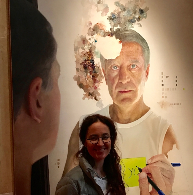 I'm standing infront of a painting by Collin Chillag at the MEAM museum in Barcelona. I love the way Chillag playfully mixes his colours ontop of his paintings and makes mini colour charts for each work.
