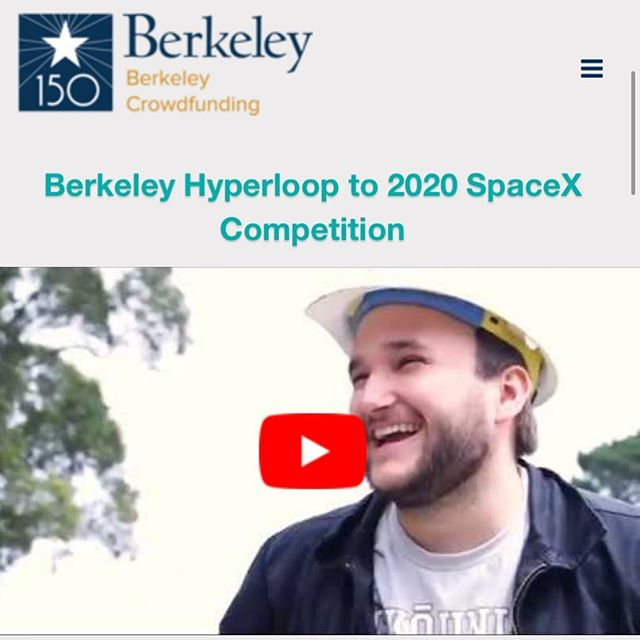 WE'RE LIVE!!! 🎉  Help Berkeley Hyperloop raise $10,000 so we can reach 300MPH in a vacuum and win the SpaceX Hyperloop Pod Competition! Every contribution and share helps. 🔥  DONATE HERE: http://crowdfund.berkeley.edu/hyperloop link in BIO!