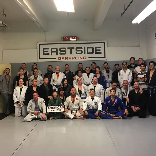 Congrats to Brandon (no social media) Matt (also no social media) and @tanyalasley on their promotions from White to Blue belt. Good times with everyone on the mat this morning. #eastsidegrappling #jiujitsu #americanjiujitsu #bjj #beltpromotions #whitetoblue #hardwork #weallatedonutsafterthis
