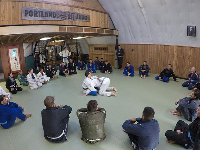 Thanks to @pdxbjj and prof @andynewaza for hosting us. If you were able to attend hopefully you got to choke out someone you've never met before. #americanjiujitsu
