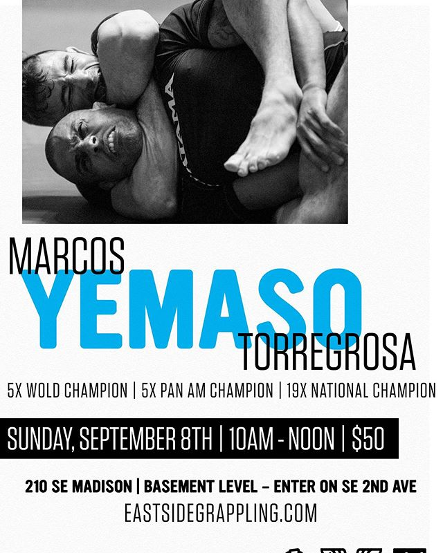 Next Sunday we are excited to be hosting @yemasojj Marcos Torregrosa for a 2 hour seminar and 1 hour of live training. Entry is $50 at the door. DM us to reserve your spot.